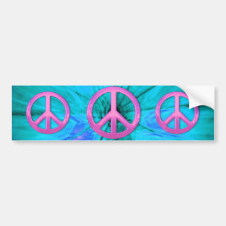 Pink Peace Sign Over Blue Abstract Explosion Bumper Sticker