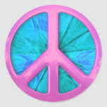 Pink Peace Sign Over Blue Abstract Explosion Sticker