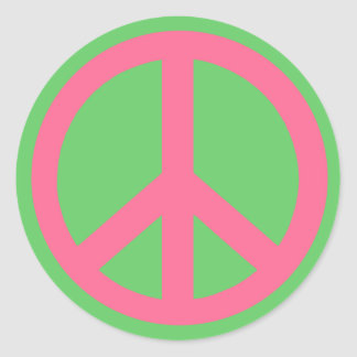Pink Peace Sign Products Stickers