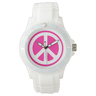 Pink Peace Sign Wrist Watch