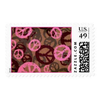 Pink Peace Signs Postage Stamps