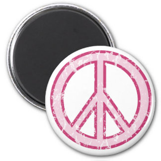 Pink Peace Symbol 2 Inch Round Magnet
