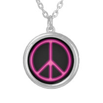 Pink Peace Symbol Silver Plated Necklace