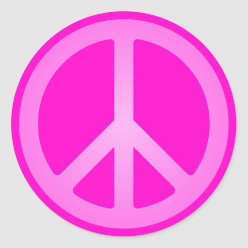 Pink Peace Symbol Stickers