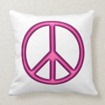 Pink Peace Symbol Throw Pillow