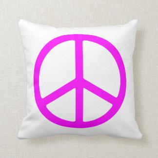 Pink Peace Symbol Throw Pillow