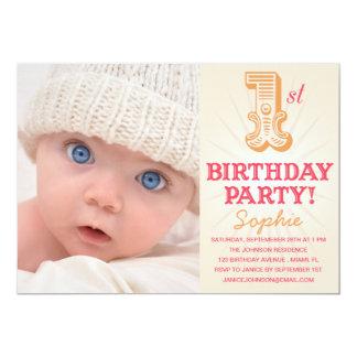 PINK & PEACH 1ST  | FIRST BIRTHDAY INVITATION