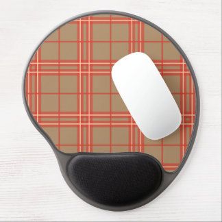 Pink, Peach and Brown Plaid Gel Mouse Pad