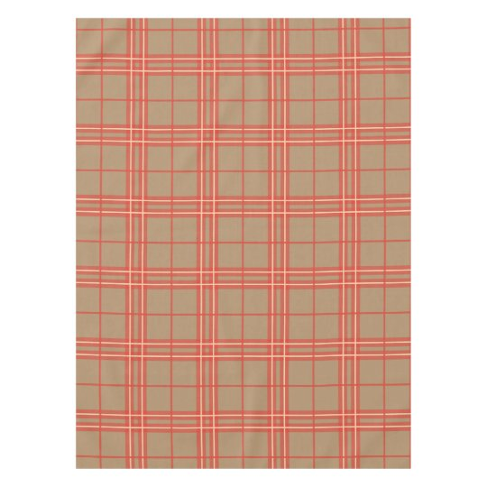 Perfect Pink, Peach And Brown Plaid Tablecloth