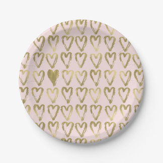 Pink Peach and Gold Hearts Wedding Paper Plate
