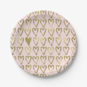 Valentines Themed Pink Peach and Gold Hearts Wedding Paper Plate