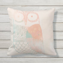Pink, Peach and Teal Watercolor Owl Throw Pillow