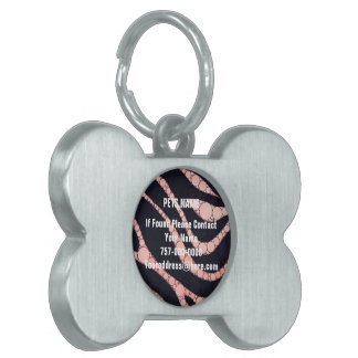Pink Peach Black Zebra Abstract Pet Name Tag