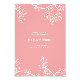 Pink Peach Blossoms Chinese Wedding Reception Card