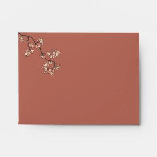 Pink Peach Blossoms Custom Wedding Envelope