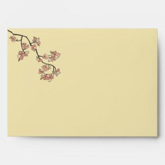 Pink Peach Blossoms Sakura Asian Wedding Envelope