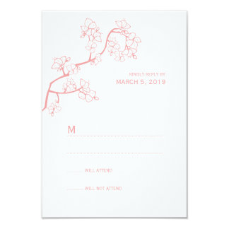 Pink Peach Blossoms Sakura Asian Wedding RSVP Card