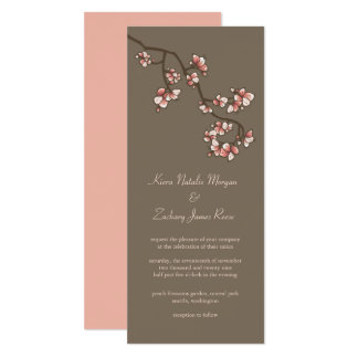 Pink Peach Blossoms Sakura Chinese Wedding Invite