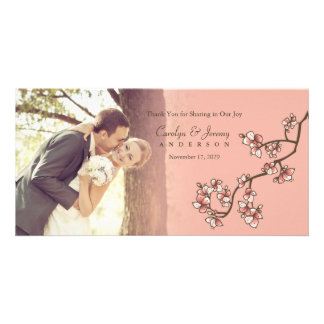 Pink Peach Blossoms Wedding Thank You Photo Card
