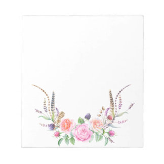 Pink Peach Blue Floral Berries Feathers Notepad
