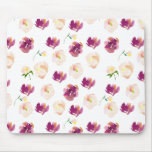 Pink Peach Burgundy Watercolor Floral Mouse Pad