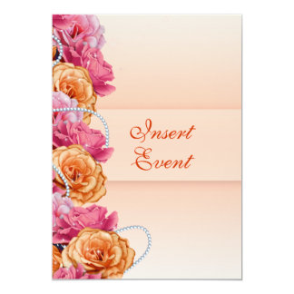 Pink peach floral country party 5x7 paper invitation card