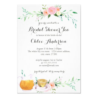 Pink Peach Floral Teacup Bridal Shower Invitation