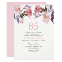 Pink Peach Floral Watercolor 85th Birthday Invite