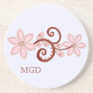 Pink peach floral with monogram coaster