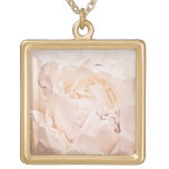 Pink Peach Peony Flower Pendant Floral