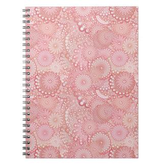 Pink, peach swirl pattern spiral notebook