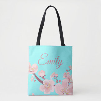 Pink Peach Tree Blossoms Floral Flowers Name Tote Bag