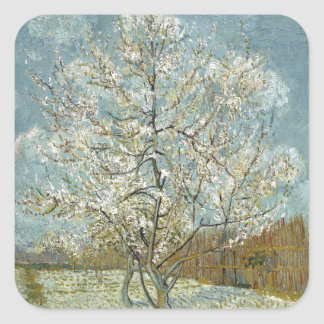 Pink Peach Tree by Vincent Van Gogh Square Sticker