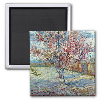 Pink Peach Tree (F394) Van Gogh Fine Art 2 Inch Square Magnet