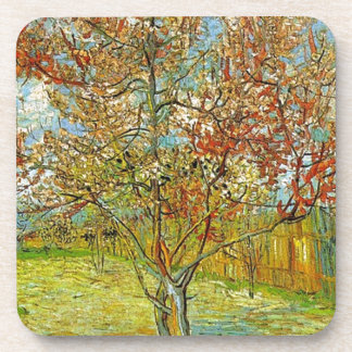 Pink Peach Tree in Blossom Reminiscence of Mauve Beverage Coaster