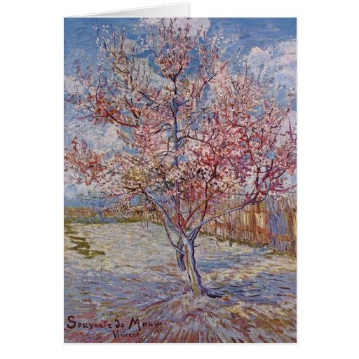 Pink Peach Tree in Blossom (Reminiscence of Mauve) Greeting Card