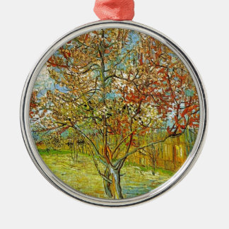 Pink Peach Tree in Blossom Reminiscence of Mauve Metal Ornament