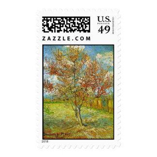 Pink Peach Tree in Blossom Reminiscence of Mauve Postage