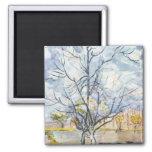 Pink Peach Tree Van Gogh Fine Art 2 Inch Square Magnet