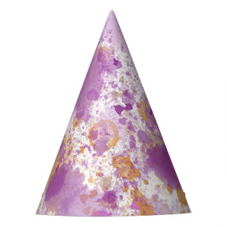 Pink Peach Watercolor Abstract Party Hat