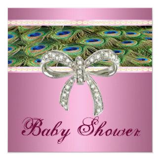 Pink peacock Diamond Bow Baby Shower Invitation