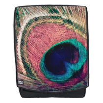Pink Peacock Feather Chic Backpack
