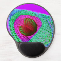 Pink Peacock Feather Gel Mouse Pad