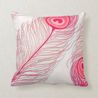 Pink Peacock Feather Illustration Throw Pillow