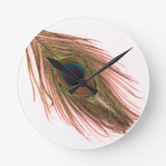 Pink Peacock Feather Round Clock