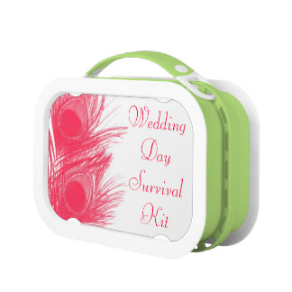 Pink Peacock Feather Wedding Day Survival Kit Box Yubo Lunch Box