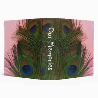 Pink Peacock Feathers Vinyl Binders