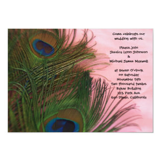 """Pink Peacock Feathers Wedding 5"""" X 7"""" Invitation Card"""