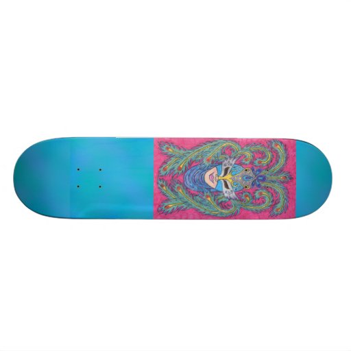 Pink Peacock Mardi Gras Mask Skateboard