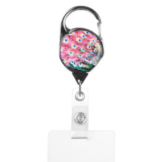 Pink Peacock Retractable Badge ID Holder